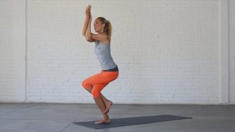 Eagle is an advanced balance pose with internal hip rotation.