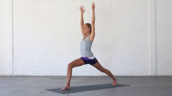High Lunge opens up the hips and can help to alleviate lower back pain.