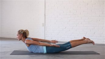 Locust pose activates and strengthens the posterior chain.