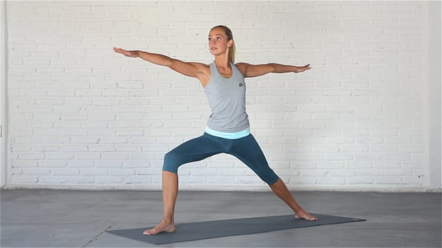 Warrior 2 is a classic standing pose that opens up the hips.