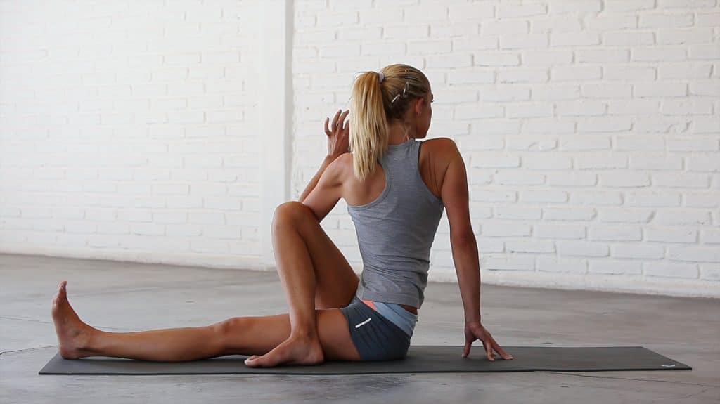 Half Spinal Twist is a fantastic IT band and TFL stretch.